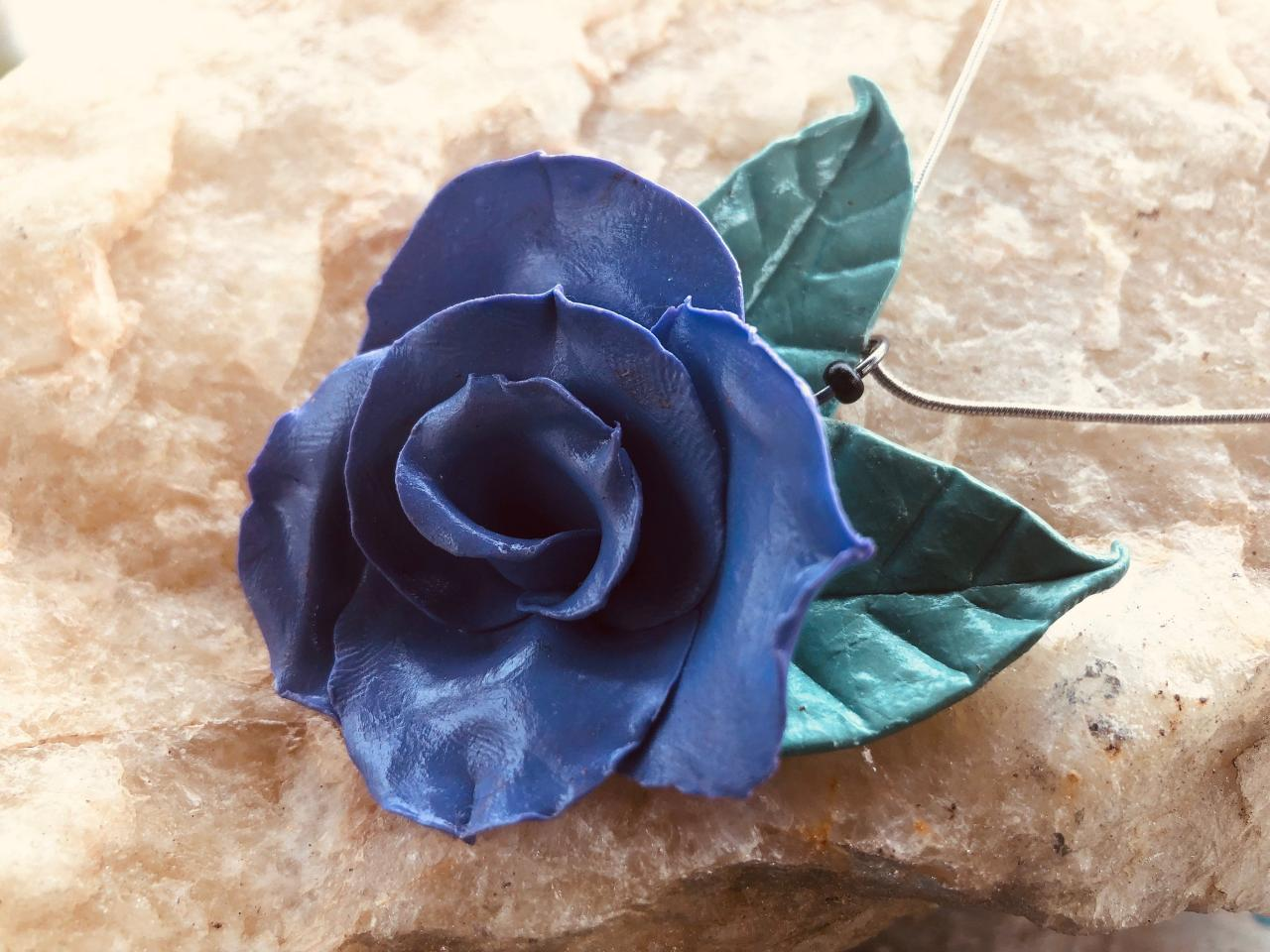 Lilac Indigo Clay Rose w/Light Sage Green Leaves Handmade Pendant on 18' Silver-Plated Snake Chain