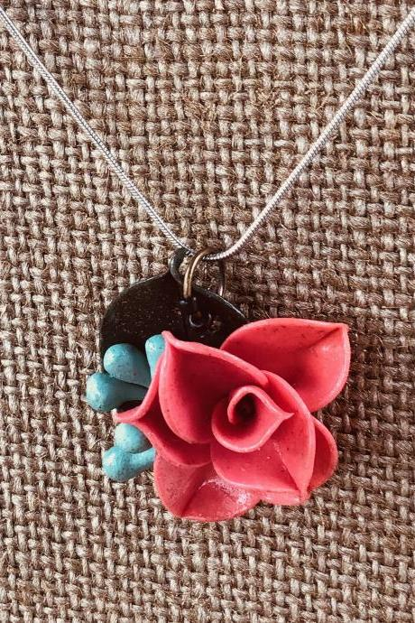 Coral Salmon Pink Clay Rose Pendant w/Blue Seeded Eucalyptus & Forest Green Ruscus Detail on 18' Silver-Plated Snake Chain Necklace