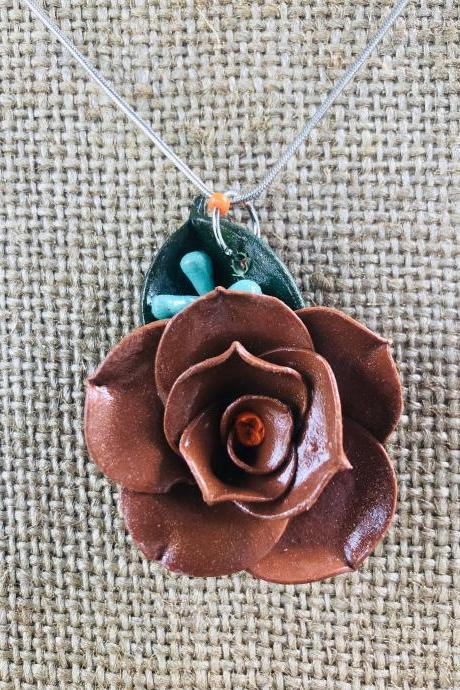 Chocolate Brown Clay Rose with Orange Center & Seeded Eucalyptus w/Forest Green Ruscus Leaf on 18' Silver-Plated Necklace with Lobster Clasp