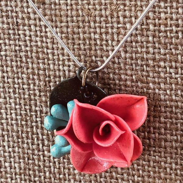 Coral Salmon Pink Clay Rose Pendant w/Blue Seeded Eucalyptus & Forest Green Ruscus Detail on 18